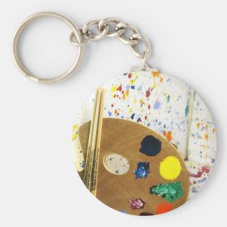Porte-clés Éclaboussure de peinture d'artistes et palette de