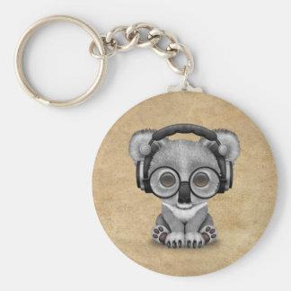 Porte-clés Écouteurs de port mignons du DJ d'ours de koala de