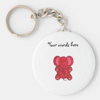 Porte-clés Éléphant rouge de scintillement