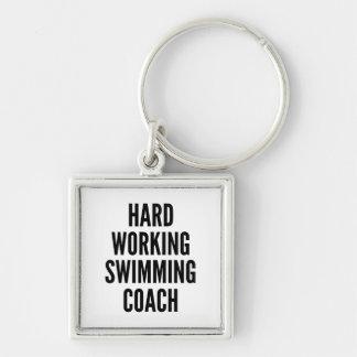 Porte-clés Entraîneur travaillant dur de natation