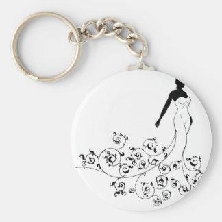 Porte-clés Épouser la silhouette abstraite de jeune mariée