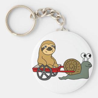Porte-clés Escargot mignon tirant la paresse dans le chariot