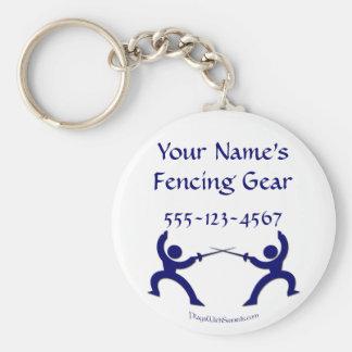 Porte-clés Étiquette de clôture personnalisable de sac - bleu