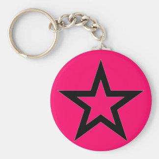 Porte-clés Étoile noire sur le rose - porte - clé