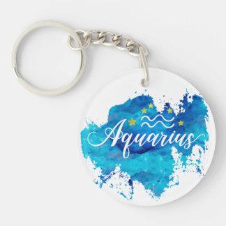 Porte-clés Étoiles bleues d'or d'aquarelle de Verseau de