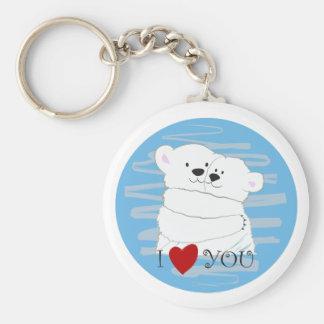 Porte-clés Étreinte mignonne polaire d'hiver d'amour de