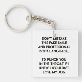 Porte-clés Faux sourire - drôle, citation sarcastique