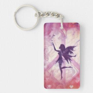 Porte-clés Fée avec des papillons et le symbole de paix