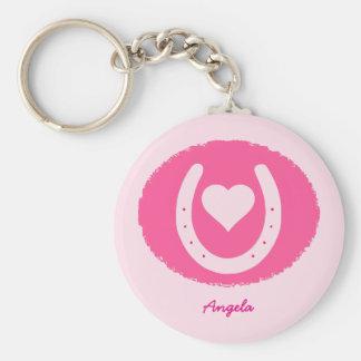 Porte-clés fer à cheval et coeur roses