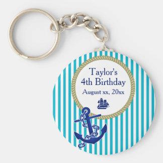 Porte-clés Fête d'anniversaire personnalisée nautique