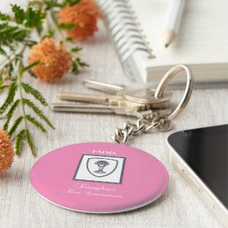 Porte-clés Fille, calice argenté de première communion