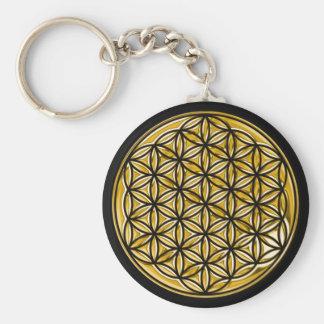 Porte-clés Fleur Live/complètement d'or