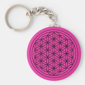 Porte-clés Fleur magenta de porte - clé de mandala de la vie