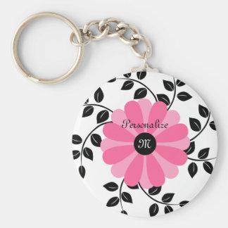 Porte-clés Fleur rose et noire décorée d'un monogramme à la
