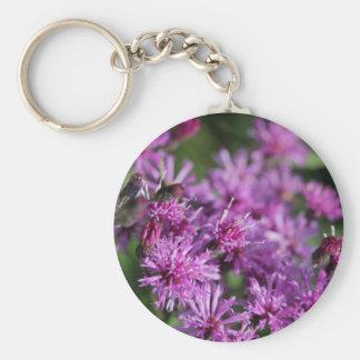 Porte-clés Fleurs sauvages géants pourpres d'herbe de