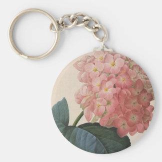 Porte-clés Fleurs vintages de jardin, Hortensia rose