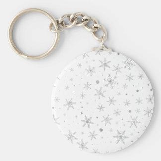 Porte-clés Flocon de neige de scintillement - gris et Blanc