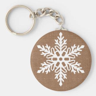 Porte-clés Flocon de neige sur Noël rustique de toile de jute