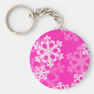 Porte-clés Flocons de neige mignons de Noël rose et blanc