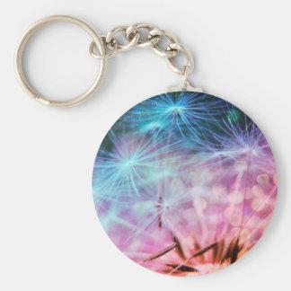 Porte-clés Flottement de souffles de pissenlit coloré par