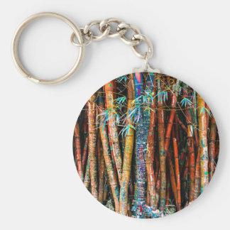 Porte-clés Forêt en bambou colorée