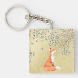 Porte-clés Fox avec des papillons et des fleurs roses