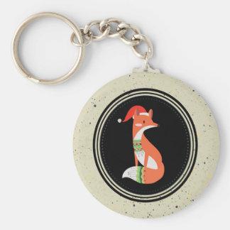 Porte-clés Fox mignon dans le casquette de Noël à l'intérieur