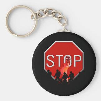 Porte-clés Garde de croisement w/Kids et signe d'arrêt