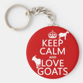 Porte-clés Gardez le calme et aimez les chèvres