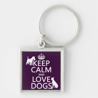Porte-clés Gardez le calme et aimez les chiens - toutes les