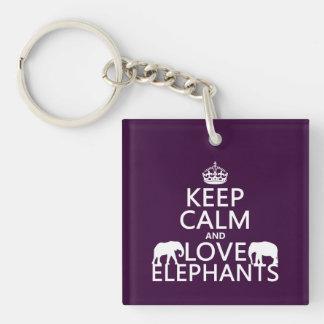 Porte-clés Gardez le calme et aimez les éléphants (toute