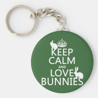 Porte-clés Gardez le calme et aimez les lapins - toutes les