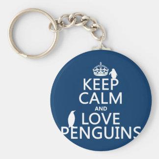 Porte-clés Gardez le calme et aimez les pingouins (toute