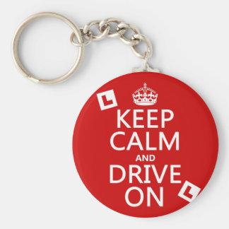 Porte-clés Gardez le calme et conduisez sur (l'étudiant)