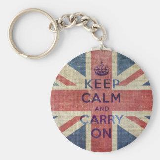 Porte-clés Gardez le calme et continuez le drapeau