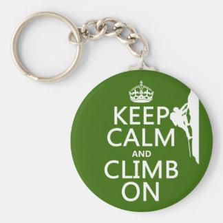 Porte-clés Gardez le calme et élevez-vous sur (la couleur