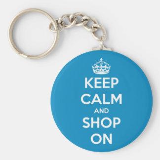Porte-clés Gardez le calme et faites des emplettes bleu lumin