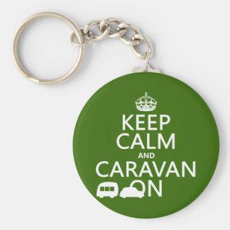 Porte-clés Gardez le calme et la caravane sur (les couleurs