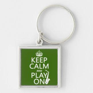 Porte-clés Gardez le calme et le jeu sur (saxophone) (toute