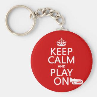 Porte-clés Gardez le calme et le jeu sur (tuba) (toute