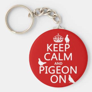 Porte-clés Gardez le calme et le pigeon dessus - toutes les