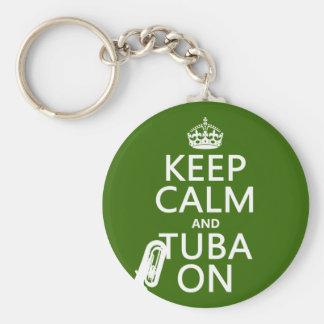Porte-clés Gardez le calme et le tuba sur (toute couleur