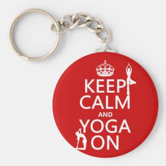 Porte-clés Gardez le calme et le yoga sur (les couleurs de