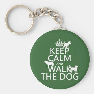Porte-clés Gardez le calme et marchez le chien - toutes les