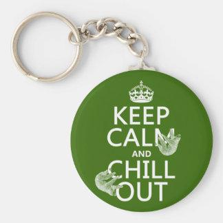 Porte-clés Gardez le calme et refroidissez (paresse) (toute