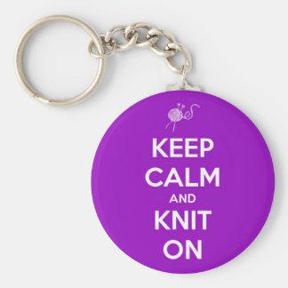 Porte-clés Gardez le calme et tricotez sur Fuschia