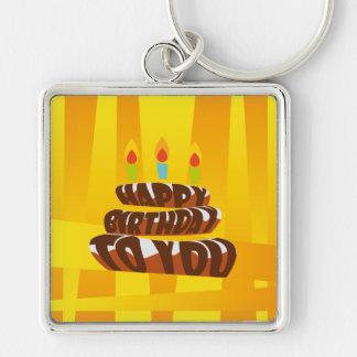 Porte-clés Gâteau de joyeux anniversaire d'illustration avec
