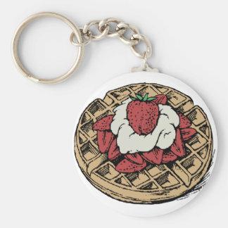 Porte-clés Gaufres belges avec des fraises