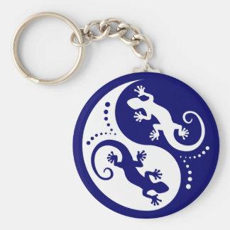 Porte-clés Geckos de YIN et de YANG blancs + votre idée