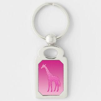 Porte-clés Girafe géométrique moderne, fuchsia et rose-clair